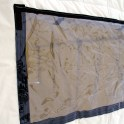 PVC and screen window, outer PVC flap with Velcro closure, screen and inner canvas flap with ties