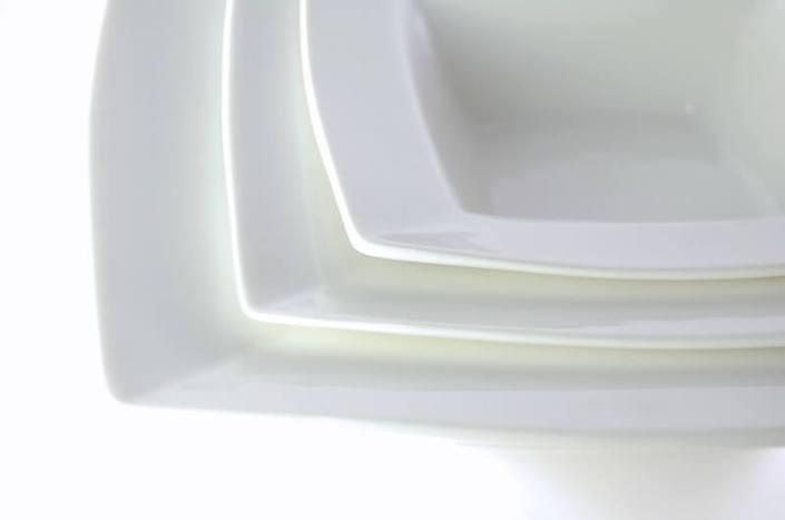 table setting rentals- Square White China