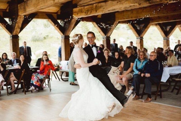 wedding rentals-Birch Dance Floor & Mahogany Padded Chairs