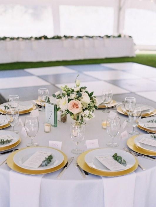 Tablescape With Deco Silverware, Napa Glassware & Gold Charger Plates
