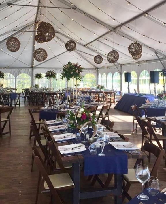 Grapevine Lanterns & Festival Lighting With Farm Tables & Mahogany Padded Chairs
