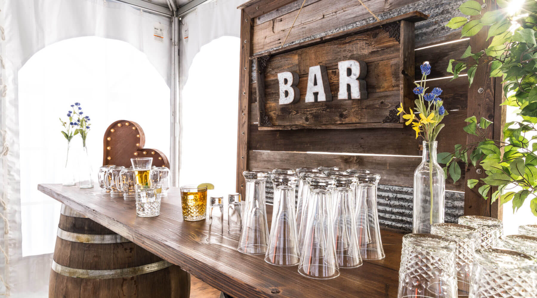 Whiskey Barrel Bar And Decor Wall
