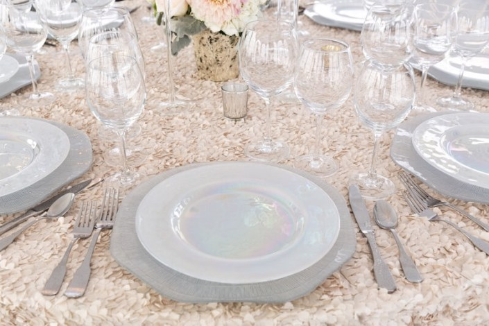 Tablescape With Luster China, Hammered Flatware & Regina Glassware