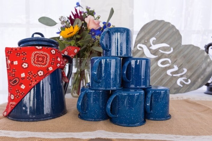 Rustic Western Blue Coffee Pourer & Western Blue Mugs