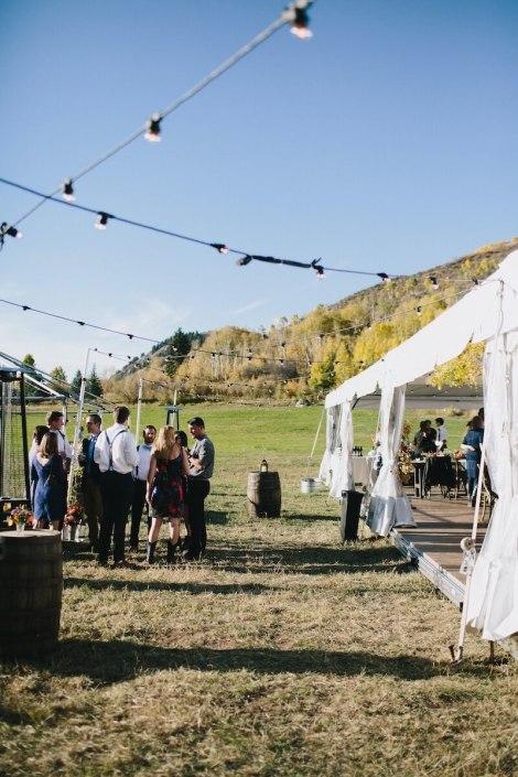 NaviTrac Tent With Wooden Strata Floor, Whiskey Barrels & Festival Lighting