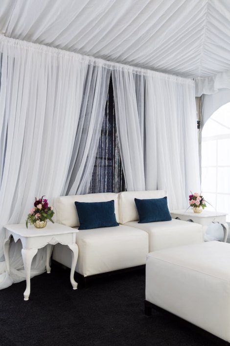 White Lounge Furniture With Antique Side Tables & Custom Draping
