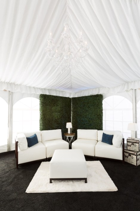 White Axis Lounge With Garden Walls, White Area Rug, Black Astro Turf & Side Tables