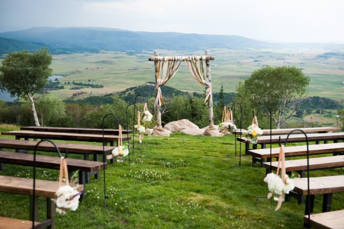 Rustic Wooden Ceremony Benches with Shepard's Hooks