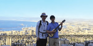 Korean brothers above the Haifa Bay