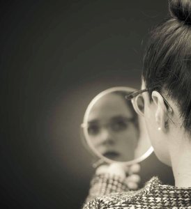 looking in a mirror
