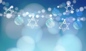 Jewish holiday Hannukah greeting card with garland of lights and jewish stars