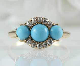 Antique Persian Turquoise Diamond Ring