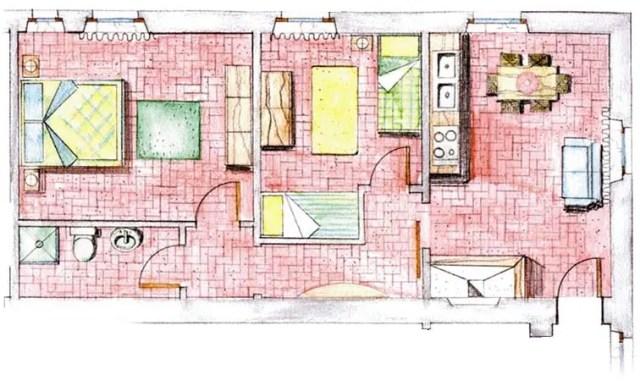 Zwei-Zimmer-Wohnung Plan