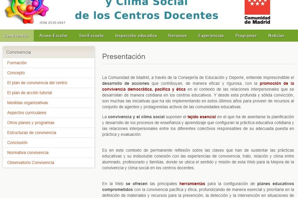 Recursos de la Comunidad de Madrid para la mejora de la convivencia escolar