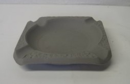 square ashtray  bisqueware