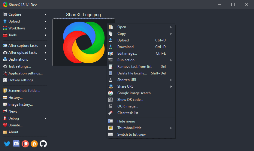 برنامج تصوير شاشة الكمبيوتر ShareX