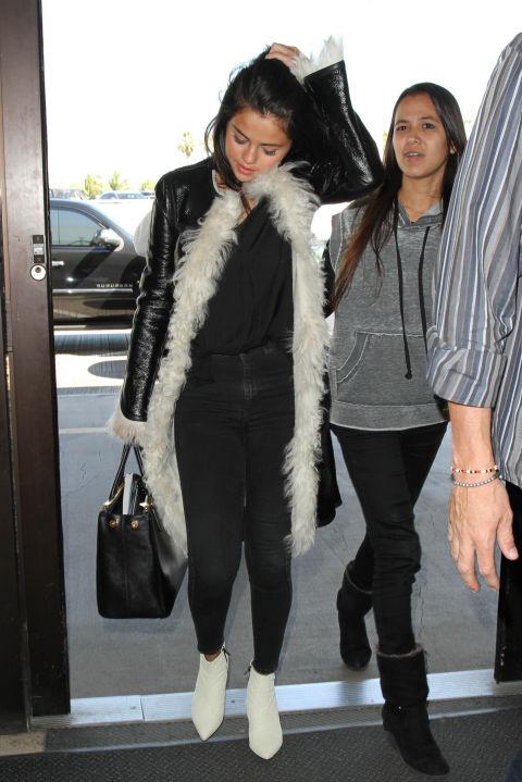 selena gomez fur trimmed jacket
