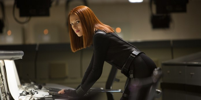 "This image released by Marvel shows Scarlett Johansson in a scene from the film, ""Captain America: The Winter Soldier."" (AP Photo/Marvel-Disney, Zade Rosenthal, file)"