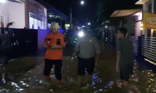 Banjir terjadi di Kecamatan Purwokerto Selatan, Kabupaten Banyumas pada Sabtu (10/4). (BPBD Kabupaten Banyumas)