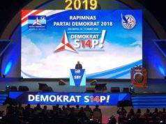 Ketua Umum Partai Demokrat (PD) Susilo Bambang Yudhoyono memberi sambutan pada Rapimnas Partai Demokrat 10-11 Market 2018 di Sentul International Convention Center (SICC) Bogor, Jawa Barat. (twitter/hincapandjaitan)