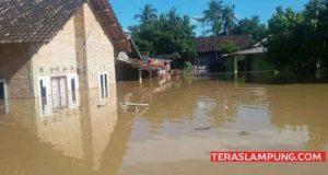 Puluhan rumah warga di daerah Rawa Karya yang terendam banjir