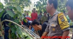 Petugas Polsek Pulau Panggung, Tanggamus bersama warga saat mengevakuasi jasad korban, Asman Hadi (45) di kebun tidak jauh dari rumahnya yang tewas setelah duel maut dengan tetangganya. (foto: Ist)
