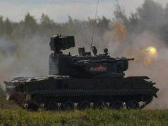 """Senjata rudal anti-pesawat lacak 2K22 Tunguska ditampilkan dalam Forum Teknis-Militer Internasional """"ARMY"""" di Alabino, Rusia, Kamis, 23 Agustus 2018. 2K22 Tunguska dipersenjatai dengan senapan permukaan ke udara dan sistem rudal. REUTERS/Maxim Shemetov"""