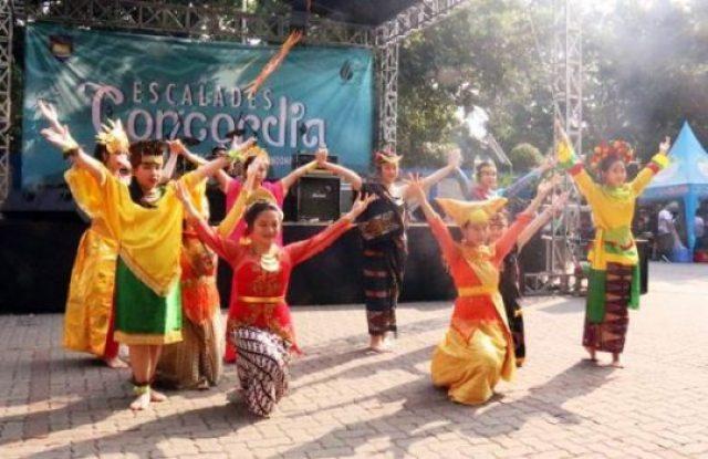 Merayakan keberagaman budaya Indonesia dalam persembahan tari saat pembukaan Escalades Concordia pada Sabtu, 6 Oktober 2018