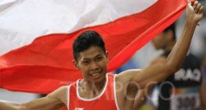 elari Indonesia Purnomo berlaga dalam final 100 meter putra di Gelora Bung Karno, Jakarta, Selasa, 9 Oktober 2018. Purnomo berhasil mempersembahkan emas untuk Indonesia. TEMPO/Subekti.