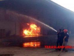 Gudang PT Lampung Distribusindo di Kalibalangan Lampung Utara Terbakar