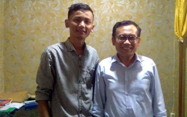 Ketum HMI Komisariat STKIP M, Arie Permadi dan Ketua STKIP M Lampung Utara, Sumarno