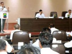 Pjs Bupati Lampung Selatan, Nanang Ermanto, memberikan sambutan pada acara silaturahmi dengan para kepala UPT.