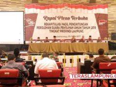 Rapat Pleno KPU Lampung dengan agenda rekapitulasi penghitungan suara Pemilu 2019 di Hotel Novotel Bandarlampung, Kamis (9 Mei 2019). KPU Lampung menargetkan penghitungan suara akan selesai pada Sabtu, 11 Mei 2019.