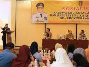 Wagub Chusnunia Chalim membuka acara Sosialisasi Kabupaten/Kota Layak Anak (KLA) dan Kabupaten/Kota Peduli Hak Azasi Manusia (HAM), di Bandarlampung, Selasa (25/6/2019).
