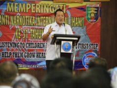 Arinal saat menghadiri Peringatan Hari Anti Narkotika Internasional (HANI) di Balai Keratun Kantor Gubernur Provinsi Lampung Rabu ( 26/6/2019).