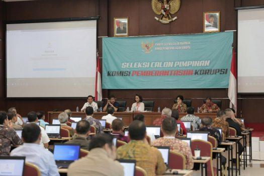 Suasana uji kompetensi Calon Pimpinan KPK 2019-2023, di Pusdiklat Kemensetneg, Jakarta, akhir pekan lalu. (Foto: Humas Kemensetneg)
