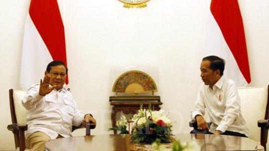 Presiden Joko Widodo mengundang Ketum Partai Gerindra Prabowo Subianto di Istana Merdeka, Jakarta, Jumat 11 Oktober 2019. TEMPO/Subekti.