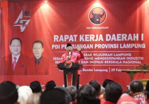 Ketua DPD PDIP Lampung, Sudin, menyampaikan sambutan pada Rakerda PDIP Lampung di Hotel Sheraton Bandarlampung, Sabtu (29/2/2020).