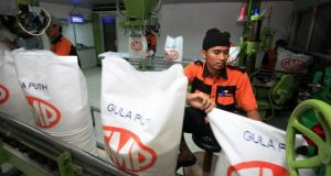Pekerja sedang mengemas gula produksi Gunung Madu Plantations (GMP). Foto: kompas.id