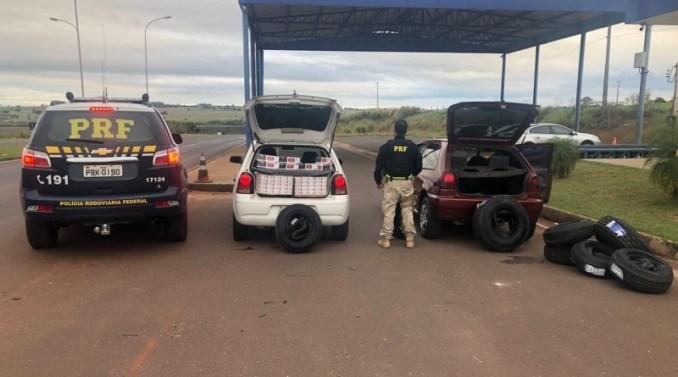 PRF apreende 7.500 maços de cigarros, pneus e celulares sem documentação em Eldorado