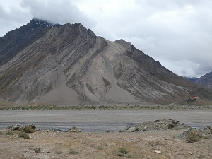 Rangdum Monastery and camp dwarfed by striated low mountains
