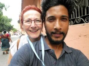 My turn with Kartik on the motor bike in Rishikesh