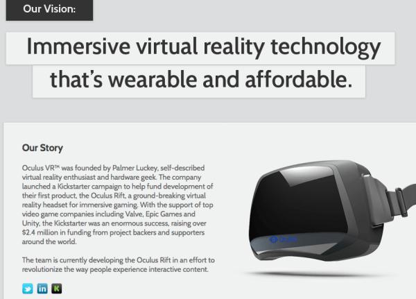Oculus Rift - Kickstarter product