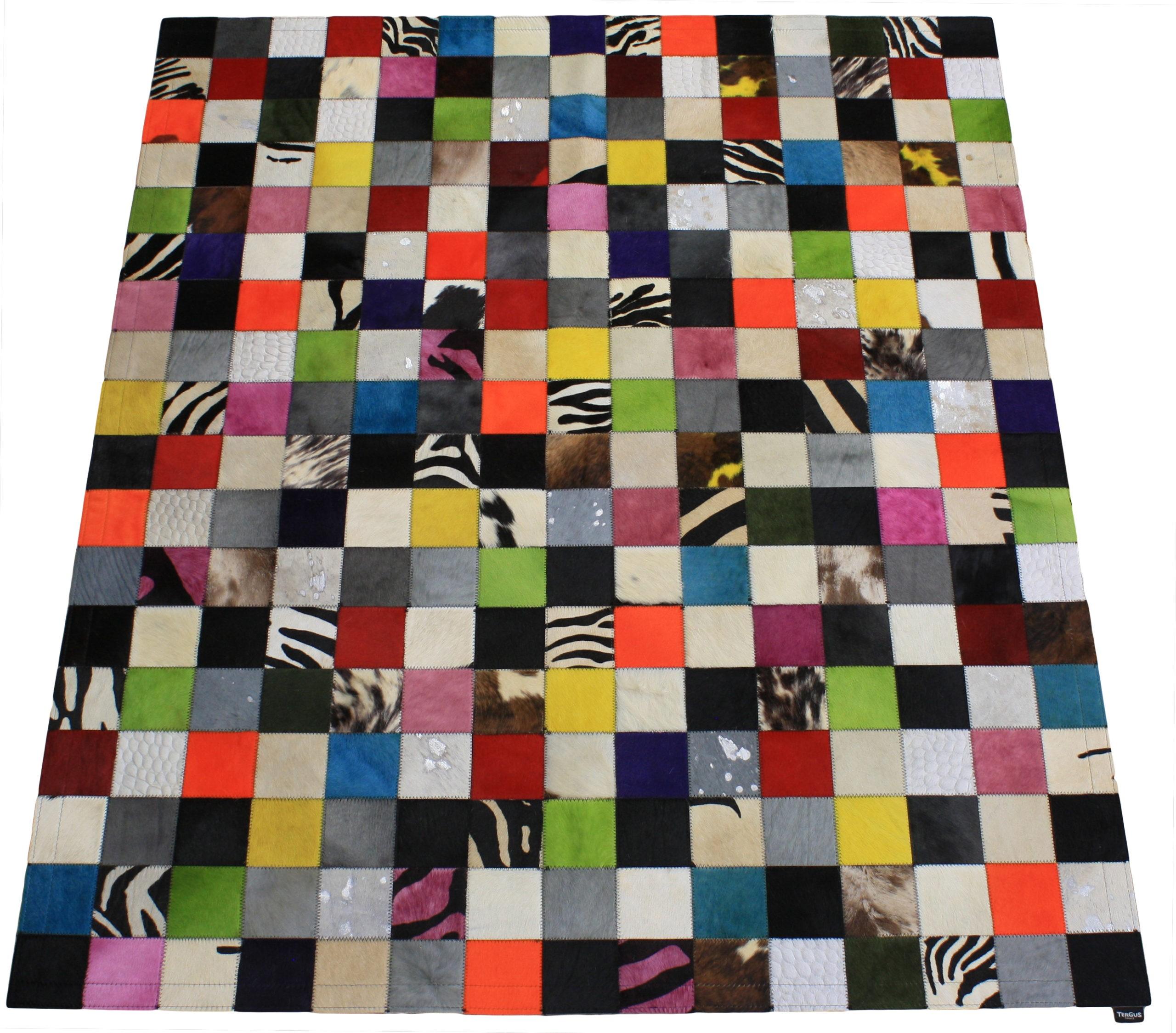 tapis peau de vache patchwork multicolore