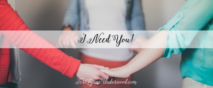 "I need you to share your recipes for crock pot meals and tell me the secret to making the perfect pumpkin roll. But I also need you to quit saying ""Fine"" when I ask how you are and go ahead and admit you're barely hanging on. {Because most days, I'm barely hanging on too ... and I need to know you get it.}  Girls, I need you ... and I'm guessing you need me too. God made us to need Him and to need each other. He hard-wired us for relationship.  Bear one another's burdens, and so fulfill the law of Christ. Galatians 6:2"