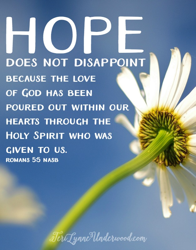 "In Christ, we have faith, hope, and love. And love reigns supreme. Because of God's great love for us {John 3:16}, we have hope. And our hope has a name: Jesus Christ. The very God who wrapped Himself in flesh and ""moved into the neighborhood"" {John 1:14 MSG} is our hope."