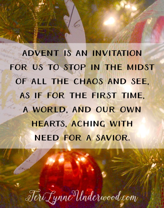 "Advent is an invitation for us ""to take stock of our souls and be at our best when the special day arrives."" ** Y'all, I don't know about you, but all the hustle and planning and doing of all the Advent activities and devotionals and calendars and plans can leave me at far less than my best when the special day —Christmas — arrives. I'm not saying there's anything wrong with watching a movie every day with your kids or marking off the days on your calendar or even reading a special devotional every day. There isn't! But if you have to choose (and let's face it, many of us will), might you consider choosing space in your heart and mind for reflecting on the holy and wholly undeserved gift of Christmas — Emmanuel, God with us?"