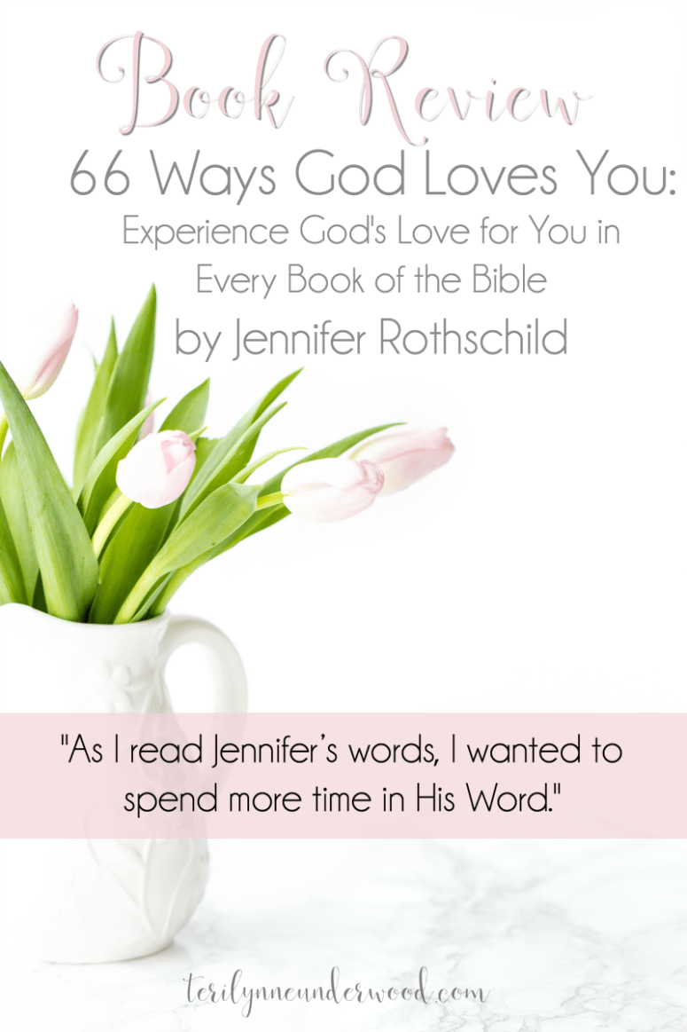 """In """"66 Ways God Loves You,"""" Jennifer Rothschild carefully outlines the way we see God's love revealed in each book of the Bible. Her writing is beautiful and inspiring but also powerful and encouraging. But what I love the most about this little book is this: As I read Jennifer's words, I wanted to spend more time in His Word."""