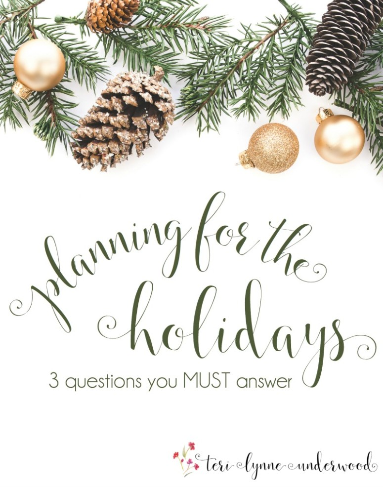 What if we look at all those invitations to events and see them as opportunities to encourage? Game changer, right?  3 questions I think we all must answer as we head into the holidays.