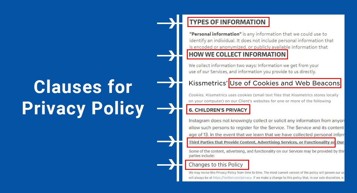 Clauses For Privacy Policy